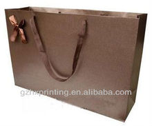 Wholesale luxury bow paper shopping bag with silk handle