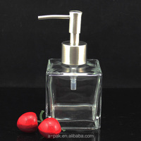 200ml square glass bottle with liquid soap dispenser