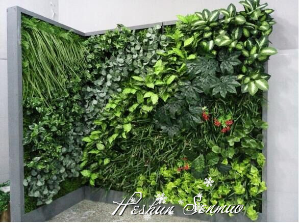Hot selling customize design artificial plant wall green for Artificial plants for interior decoration