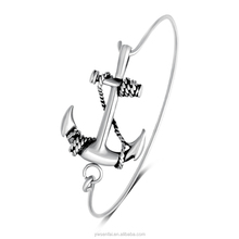 2017 new products silver plated anchor charm wire bangle bracelet