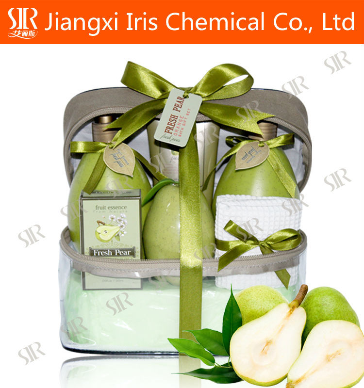 Attractive kiwi fruit shaped bath spa gift set with shower gel body lotion