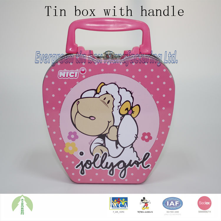 Hot sale custom tin gift packing cans tin lunch box with lock and handle