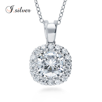 globe sterling silver 925 Cushion CZ chunky Halo Pendant jewelry P50064