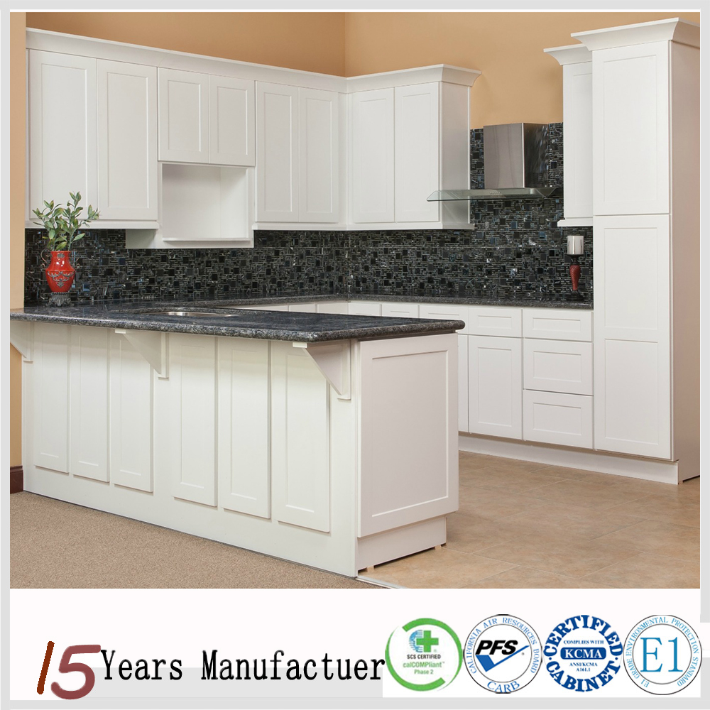 American Modular White Shaker Style Rosewood Kitchen Cabinet