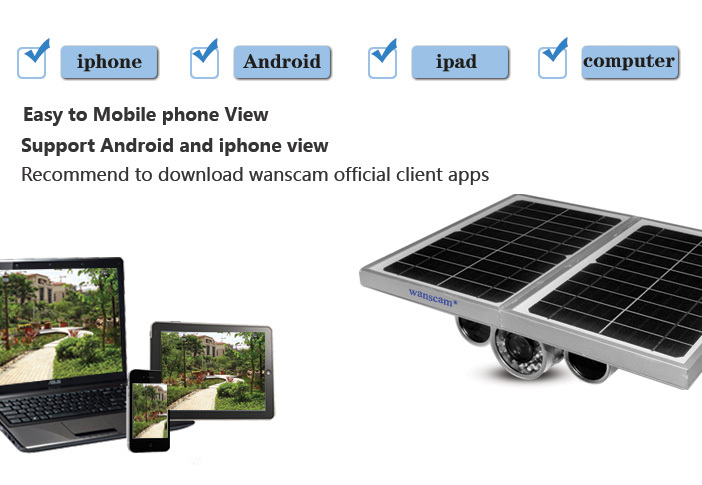 WANSCAM HW0029-3 Built-in Battery 24AH P2P Ap Onvif Wireless Outdoor HD Solar Power IP Camera 16GB SD Card