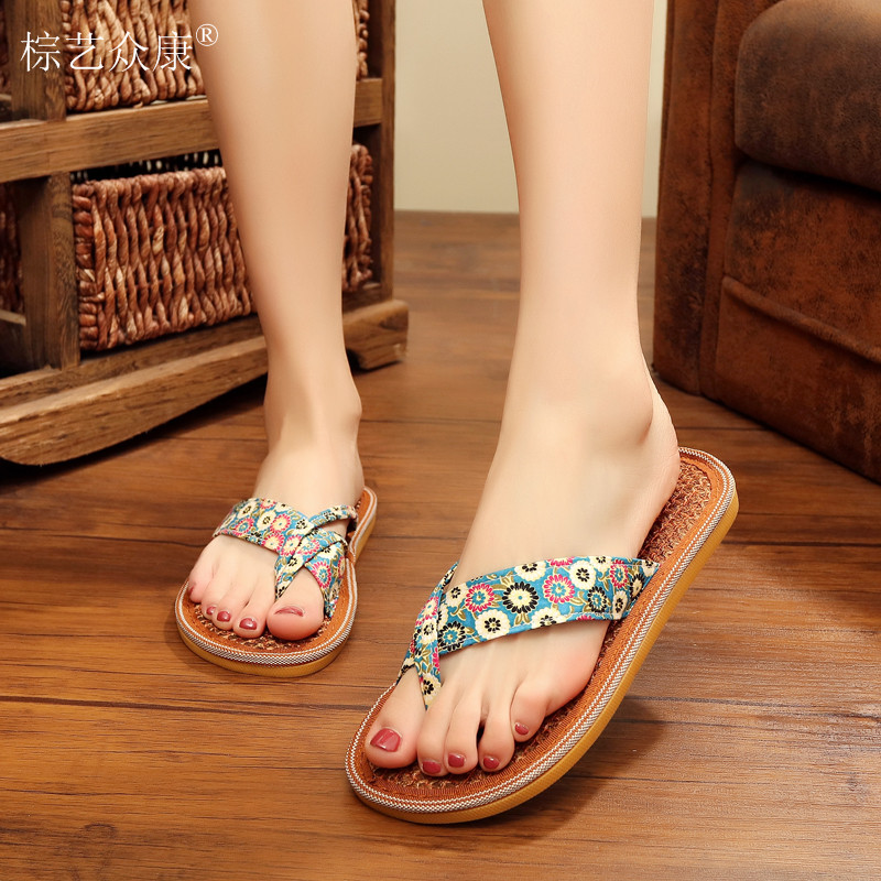 2017 New Leisure Flower Flip Flops Beach <strong>Slippers</strong> Handmade Classic Floral Print Sandals Women Fashion Flat shoes