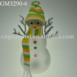 Wholesale LED glass christmas snowman with scarf and hat