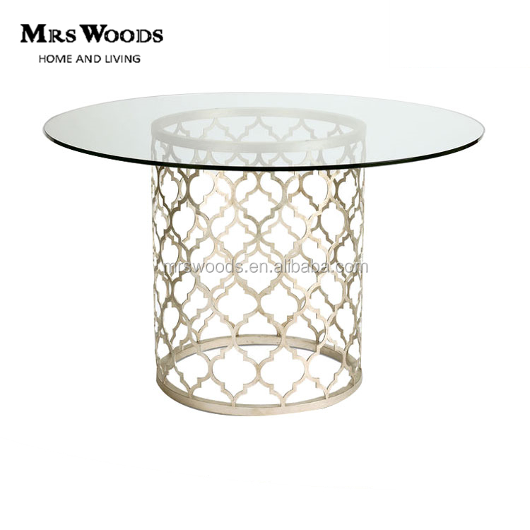 Round Tempered Glass Chromed Metal Base Wedding Dining Table for Event