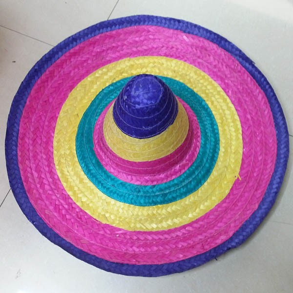 Rainbow Color mexican big brim sombrero straw hat wholesale