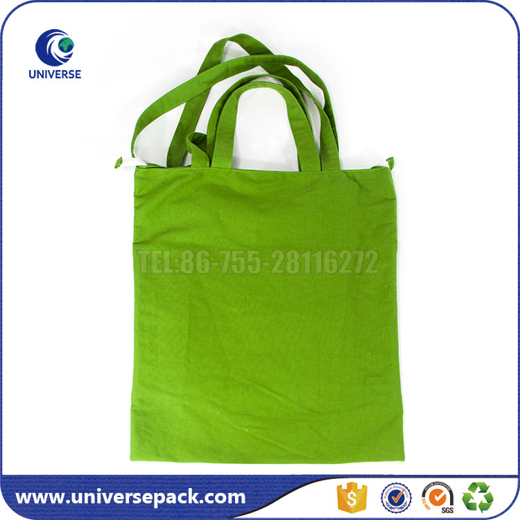 Wholesale plain tote shoulder canvas bag with zipper closure
