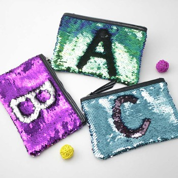 Color change sequined coin bag new fashion with lettering sequined makeup bag exquisite sequined makeup clutch bag
