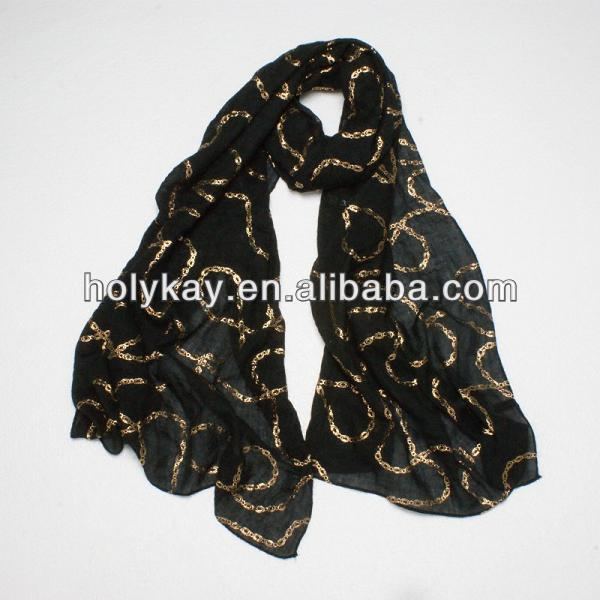 Elegant black polyester printed shawl scarf,Soft long shawl for women,best-selling scarf shawl