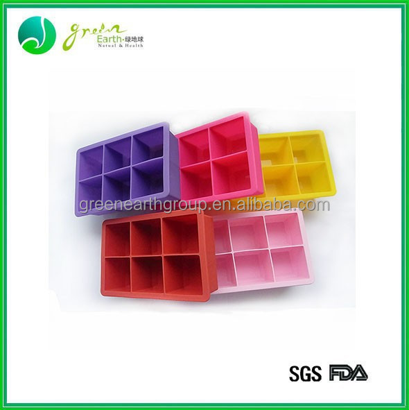 2015 saleable popular food grade durable Silicone 6 cavities square ice cube tray/ice mold