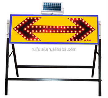 High visibility reflective traffic warning sign arrow flashing panel
