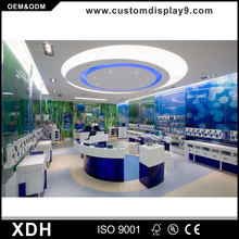 Professional mobile phone shop interior design with display showcase