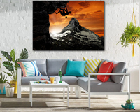classical climbing man in sunset wall art picture canvas painting art work for out door gardern pool decor waterproof canvas art