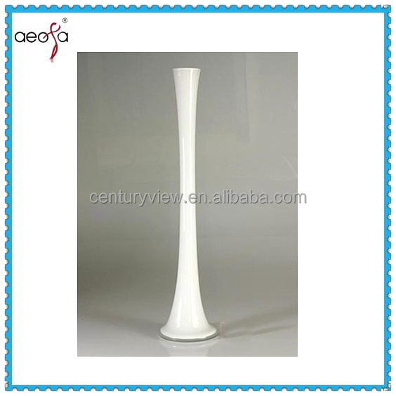 Long Stem Tall Glass Eiffel Tower Vase White Colour Vase For Flower