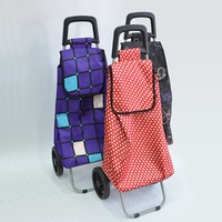 Foldable Polyester Two Wheel Shopping Trolley Bag