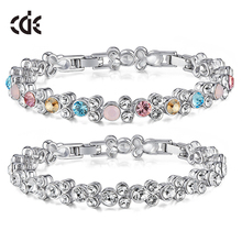 China OEM fashion jewlery factory private label 925 sterling silver / brass bead crystals from Swarovski charm bracelet