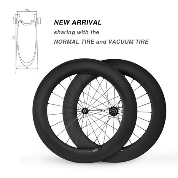 New Arrival OEM 88mm Wide Carbon Bike Wheelsets clincher-tubular integrated