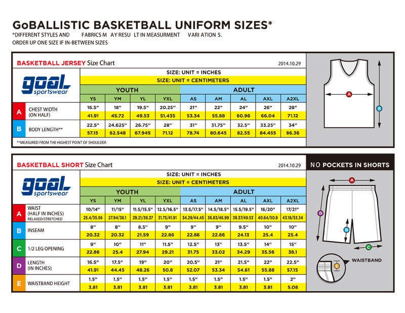 Basketball Jersey Size Chart Youth Large Jersey Size