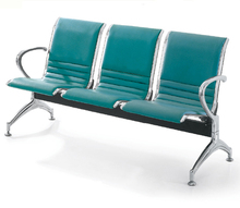 Powder-coated steel frame PU seating 3-seater airport waiting chair