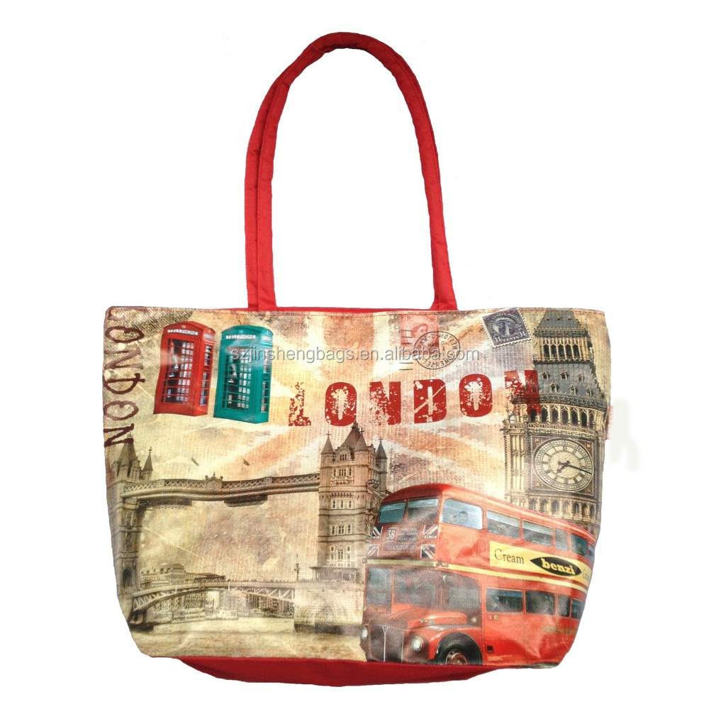 Customise front full printed London souvenir handbag
