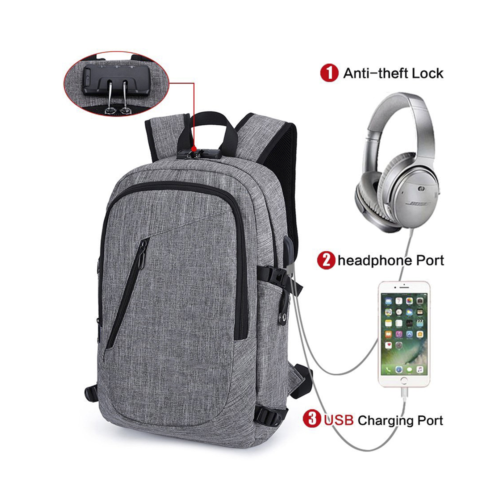 17-Inch Anti-theft backpack Lightweight Travel <strong>Bag</strong> waterproof with USB Charging Port headphone Port and Lock Fits