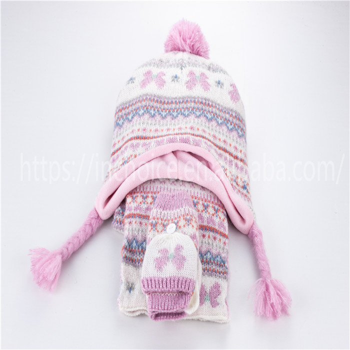 winter warm cute pink knitted hat mittens scarf for children