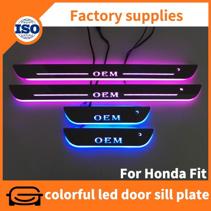 Full colors led moving automotive door sill covers scuff plate for Honda Fit