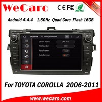 WECARO OEM Factory Touch Screen DVD Player Pure Android 4.4 Car Audio Usb Port For Toyota Corolla 2008