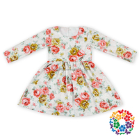 2016 fancy long sleeve casual cotton floral dress for baby girl