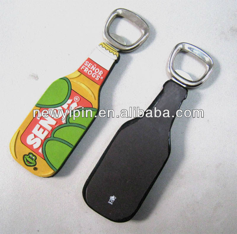 High quality custom logo PVC wine botter shape metal bottle opener