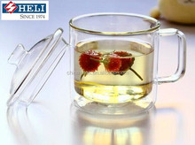 Heat Resistant Double Wall Glass Cup With Lid