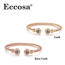 2017 Alibaba Com Twisted Stainless Steel 18K Rose Gold Adjustable Cuff Bangle