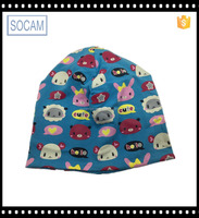 Kids animal printing beanie hats custom winter knitted hats with animal