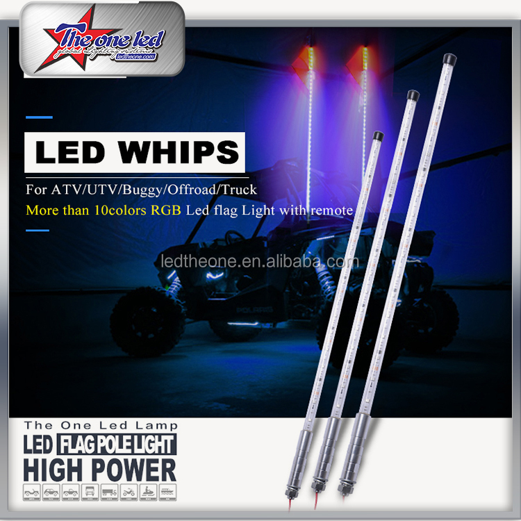 6ft 1.8 Meters LED Fiber Optic Light LED Whip Antenna Light Flag Flexible Quick Disconnect for Car ATV UTV Sand Motorcycle