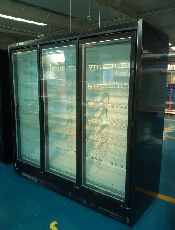 Remote upright glass door freezer for supermarket and convenience shop