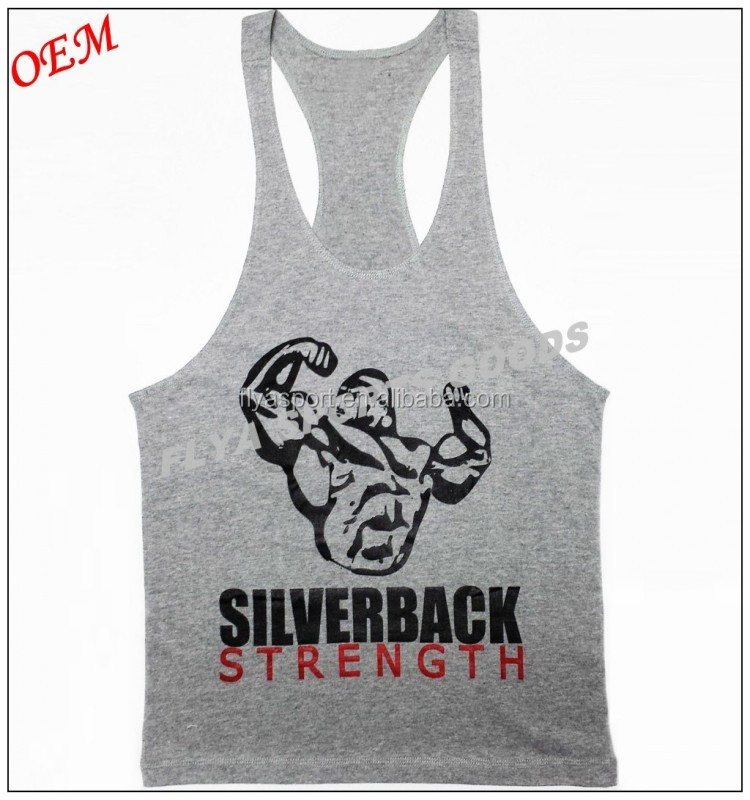 Summer hot customize stretch elastane tank top bodybuilding vest mens gym stringer singlets