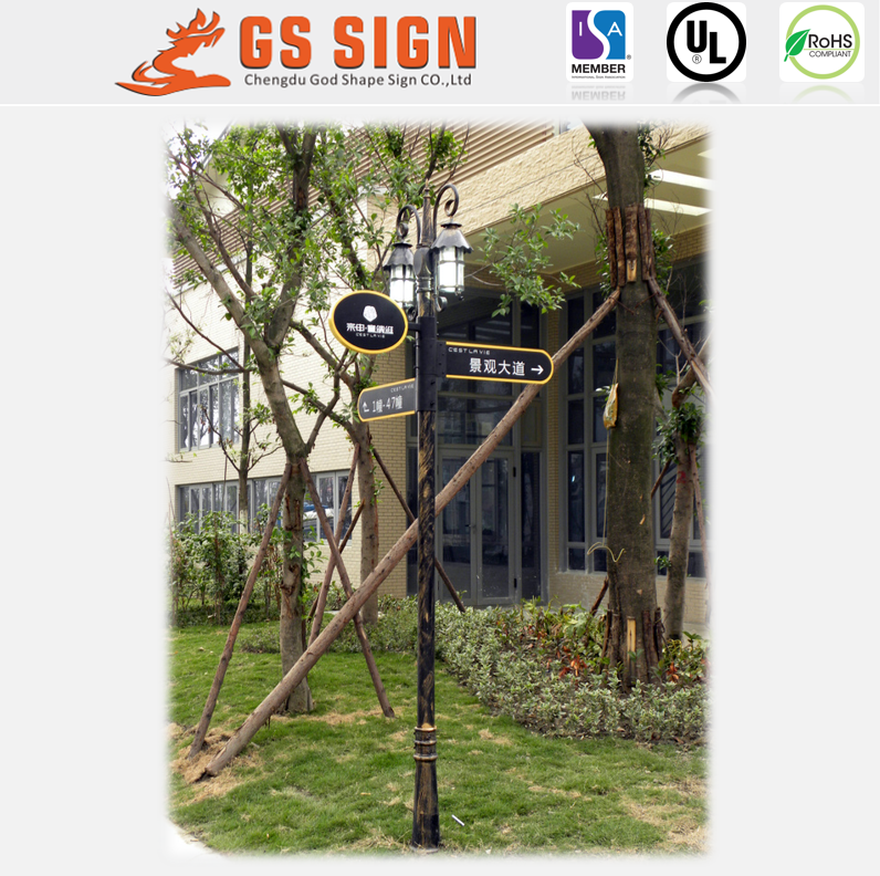 Outdoor metal pole stand directional signage