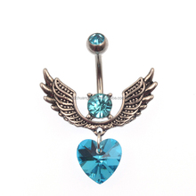 High Fashion High Quality Blue Heart Crystal Belly Navel Button Rings Piercing 2017