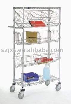Chrome wire shelving with basket also horizontal panel