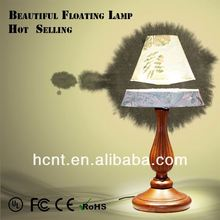 New Invention ! Electromagnetic levitating desk light, fabric shade and resin body good table lamp