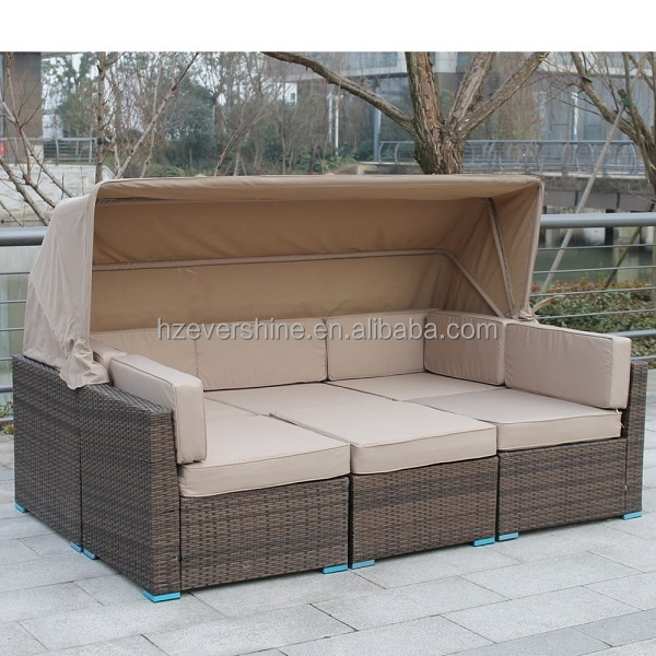 Popular Outdoor sectional rattan daybed with canopy chaise sofa set