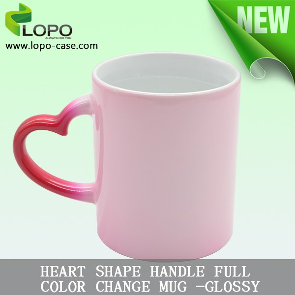 Personalized Sublimation coating 11oz glossy heart handle full color change mug