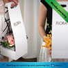 White cardboard die cut handle flower packaging
