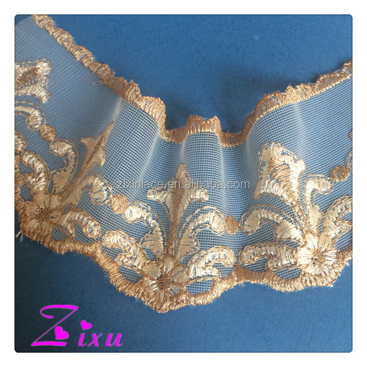 New design fashion low price embroidery lace fabric / embroidery lace trimming