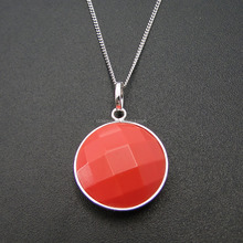925 Sterling Silver Red Coral Charms Pendant Necklace Rhodium Plating Jewelry DR01507160P