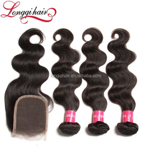 machine made 100% unprocessed virgin human hair closure natural color Free Part bangs lace closure
