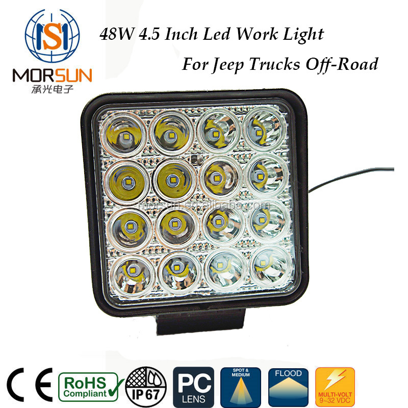 4x4 accessories car led work light led 12v spot flood beam 48w tractor trucks off road led work light